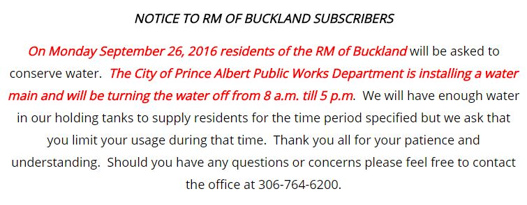 Sept 26, 2016 Conserve water notice